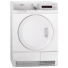 Buy AEG T75380AH2 Heat Pump Condenser Tumble Dryer, 8kg Load, A+ Energy Rating, White Online at johnlewis.com