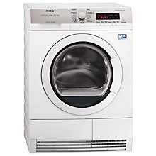 Buy AEG T86585IH ProTex Plus  Heat Pump Condenser Tumble Dryer, 8kg Load, A++ Energy Rating, White Online at johnlewis.com