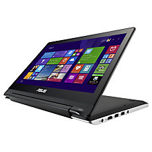 "Buy Asus Transformer Book Flip TP300LA Convertible Laptop, Intel Core i3, 4GB RAM, 500B, 13.3"" Touch Screen, Black & Silver Online at johnlewis.com"