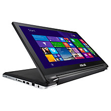"Buy Asus Transformer Book Flip TP550LA Convertible Laptop, Intel Core i5, 8GB RAM, 750GB, 15.6"" Touch Screen, Black & Silver + Norton 360 Online at johnlewis.com"
