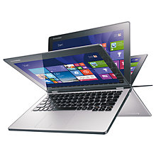 "Buy Lenovo Yoga 2 11"" Convertible Ultrabook, Quad-Core Intel Pentium, 4GB RAM, 500GB + 8GB SSHD, 11.6"" Touch Screen, Silver Grey Online at johnlewis.com"