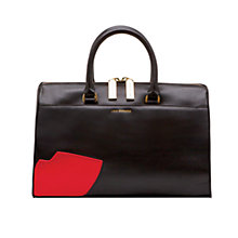 Buy Lulu Guinness Abstract Lips Violet Leather Grab Bag, Black Online at johnlewis.com