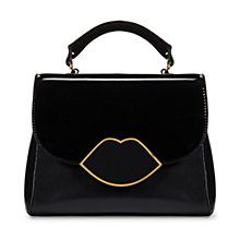 Buy Lulu Guinness Small Izzy Leather Satchel Bag, Black Online at johnlewis.com