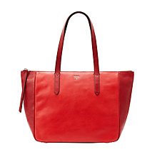 Buy Fossil Sydney Leather Shopper Bag, Scarlet Online at johnlewis.com
