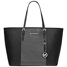 Buy MICHAEL Michael Kors Micro Stud Medium Leather Travel Tote, Black Online at johnlewis.com