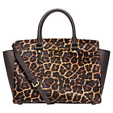 Buy MICHAEL Michael Kors Selma Large Leather Top Zip Satchel Bag, Leopard Online at johnlewis.com