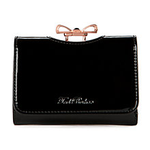 Buy Ted Baker Temmey Crystal Bow Leather Purse, Jet Online at johnlewis.com