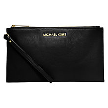 Buy MICHAEL Michael Kors Bedford Large Zip Leather Clutch Bag, Black Online at johnlewis.com