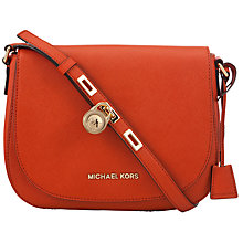 Buy MICHAEL Michael Kors 18ct Gold Large Hamilton Messenger Bag, Orange Online at johnlewis.com
