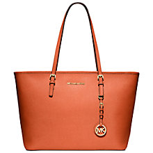 Buy MICHAEL Michael Kors Jet Set Travel Top-Zip Tote, Orange Online at johnlewis.com