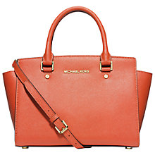 Buy MICHAEL Michael Kors Selma Top-Zip Medium Satchel, Orange Online at johnlewis.com