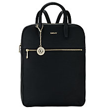 Buy DKNY Tribeca Soft Tumbled Leather Backpack, Black Online at johnlewis.com