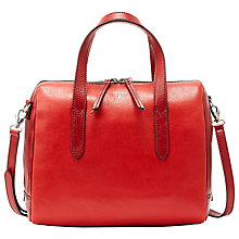 Buy Fossil Sydney Leather Satchel, Scarlet Online at johnlewis.com