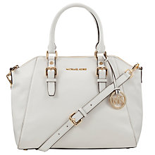 Buy MICHAEL Michael Kors Bedford Large Leather Tote Bag, White Online at johnlewis.com