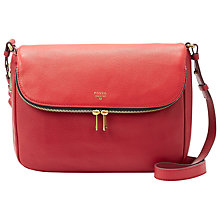 Buy Fossil Preston Flap Leather Across Body Bag, Red Online at johnlewis.com