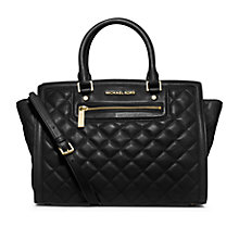 Buy MICHAEL Michael Kors Selma Zip Quilted Leather Satchel Bag, Black Online at johnlewis.com