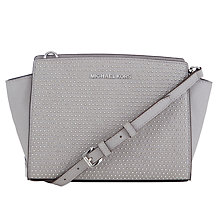 Buy MICHAEL Michael Kors Micro Stud Medium Leather Messenger Bag, Grey Online at johnlewis.com