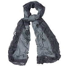 Buy Phase Eight Lexie Lace Edge Scarf, Charcoal Online at johnlewis.com