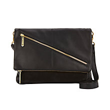 Buy Mint Velvet Amy Leather Zip Fold Bag, Black Online at johnlewis.com