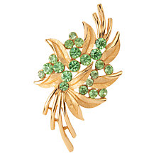 Buy Susan Caplan Vintage 1960s Trifari Gold Plated Swarovski Crystal Brooch, Green Online at johnlewis.com