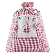 Buy Cambric & Cream Personalised Gingham Laundry Bag, Pink Online at johnlewis.com