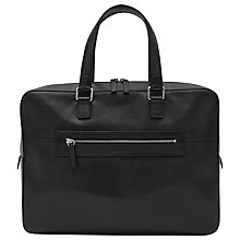 Buy Reiss Clanton Leather Briefcase, Black Online at johnlewis.com