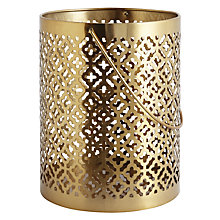 Buy John Lewis Large Cut-out Hurricane Lantern, Gold Online at johnlewis.com