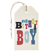 Buy Art File Birthday Boy Gift Tag Online at johnlewis.com