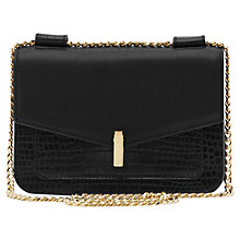 Buy Reiss Elliott Lock Pocket Leather Bag, Black Online at johnlewis.com
