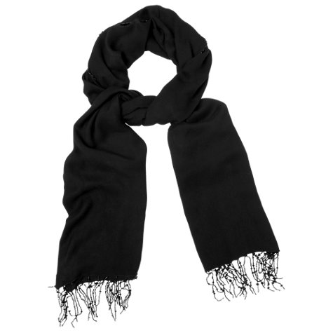 Buy Phase Eight Beaded Tassle Scarf, black Online at johnlewis.com