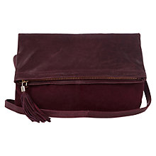 Buy Oasis Clove Leather Clutch Cross Body, Burgundy Online at johnlewis.com