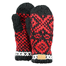 Buy Barts Log Cabin Mittens, One Size, Black/Red Online at johnlewis.com