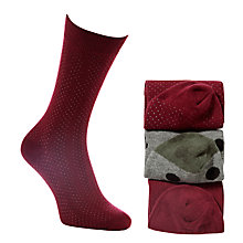 Buy Selected Homme Patterned Socks, Pack of 3, Bright Red/Grey Online at johnlewis.com