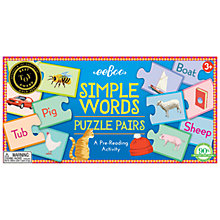Buy Eeboo Simple Words Puzzle Pairs Online at johnlewis.com