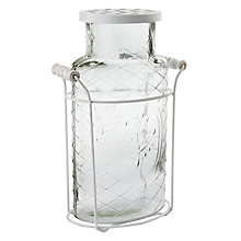 Buy Glass Vase with Metal Basket, White Online at johnlewis.com