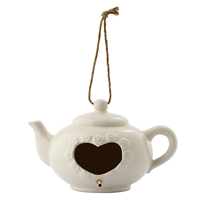 Porcelain Teapot Bird House, Cream