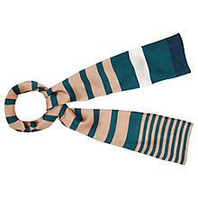 Buy Viyella Stripe Silk Scarf, Peacock Online at johnlewis.com