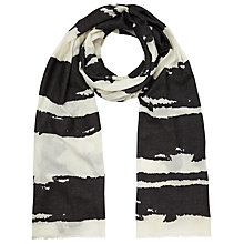 Buy John Lewis Burnt Out Stripe Scarf, Black Online at johnlewis.com