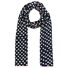 Buy John Lewis Daisy Print Cotton Scarf, Navy Online at johnlewis.com