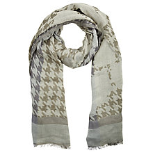 Buy John Lewis Dogtooth Floral Scarf, Taupe Online at johnlewis.com