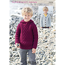 Buy Sirdar Supersoft Boy's Aran Knit Jumper Knitting Patterns, 2426 Online at johnlewis.com