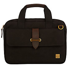 "Buy Knomo Par Slim Canvas Briefcase for 13"" Laptops, Black Online at johnlewis.com"