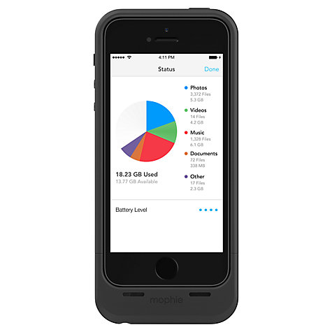 Buy Mophie Space Pack, Case with Rechargeable Battery and Built-in Storage for iPhone 5 & 5s Online at johnlewis.com