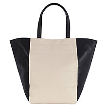 Buy Warehouse Contrast Croc Shopper Bag, Black Online at johnlewis.com