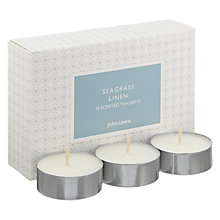 Buy John Lewis Seagrass Linen Tealights Online at johnlewis.com