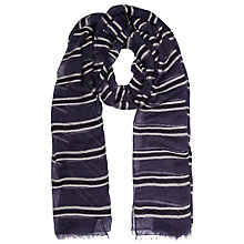 Buy John Lewis Kilim Stripe Wool Scarf, Navy Online at johnlewis.com