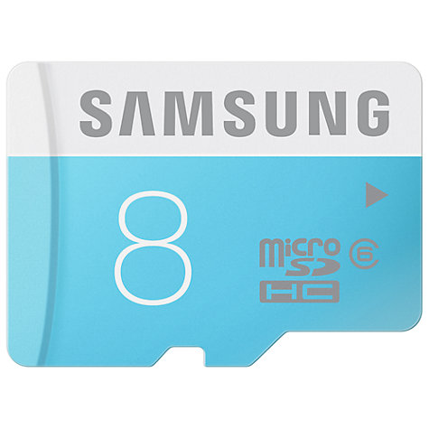 Buy Samsung Class 6 microSDHC Memory Card, 8GB, 24MB/s, with SD Adapter Online at johnlewis.com