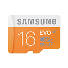 Buy Samsung Evo UHS-I U1 microSDHC Memory Card, 16GB, 48MB/s, with SD Adapter Online at johnlewis.com