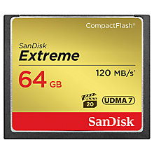 Buy SanDisk Extreme UDMA7 CompactFlash Memory Card, 64GB, 120MB/s Online at johnlewis.com