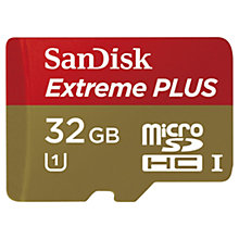 Buy SanDisk Extreme Plus UHS-I U1 microSDHC Memory Card, 32GB, 80MB/s, with SD Adapter Online at johnlewis.com